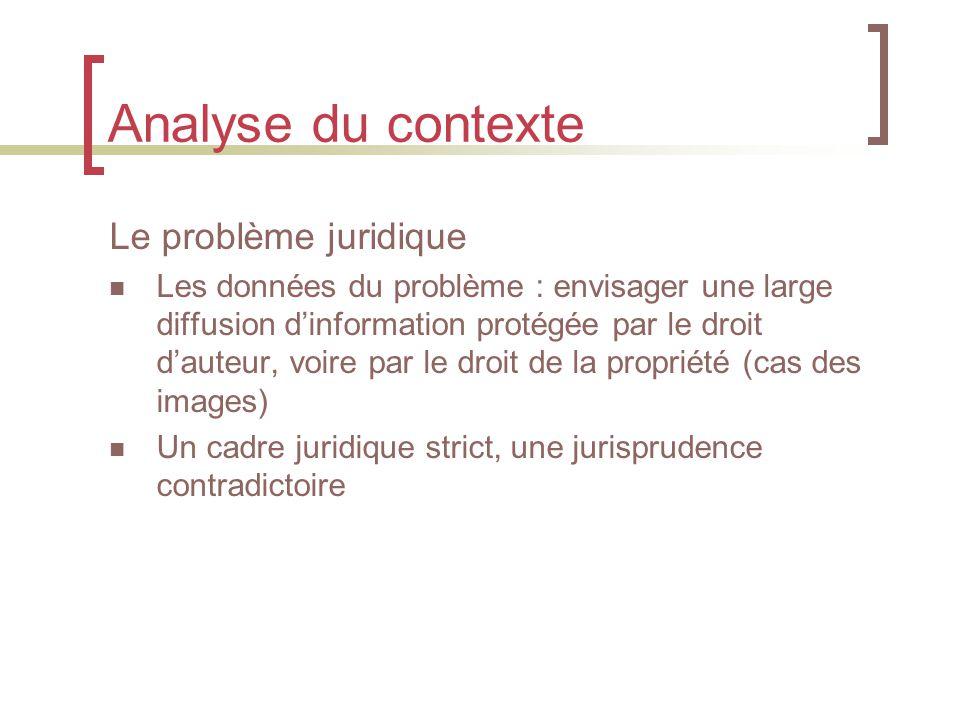 Analyse du contexte Le problème juridique Les données du problème : envisager une large diffusion d'information protégée par le droit d'auteur, voire par le droit de la propriété (cas des images) Un cadre juridique strict, une jurisprudence contradictoire