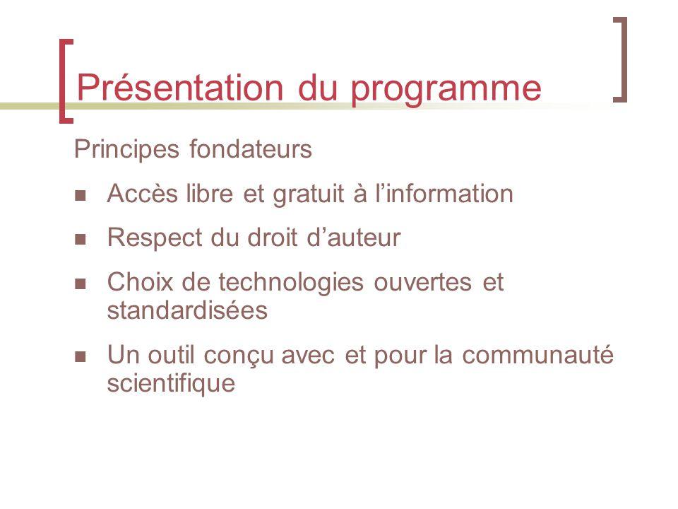 Présentation du programme Principes fondateurs Accès libre et gratuit à l'information Respect du droit d'auteur Choix de technologies ouvertes et standardisées Un outil conçu avec et pour la communauté scientifique
