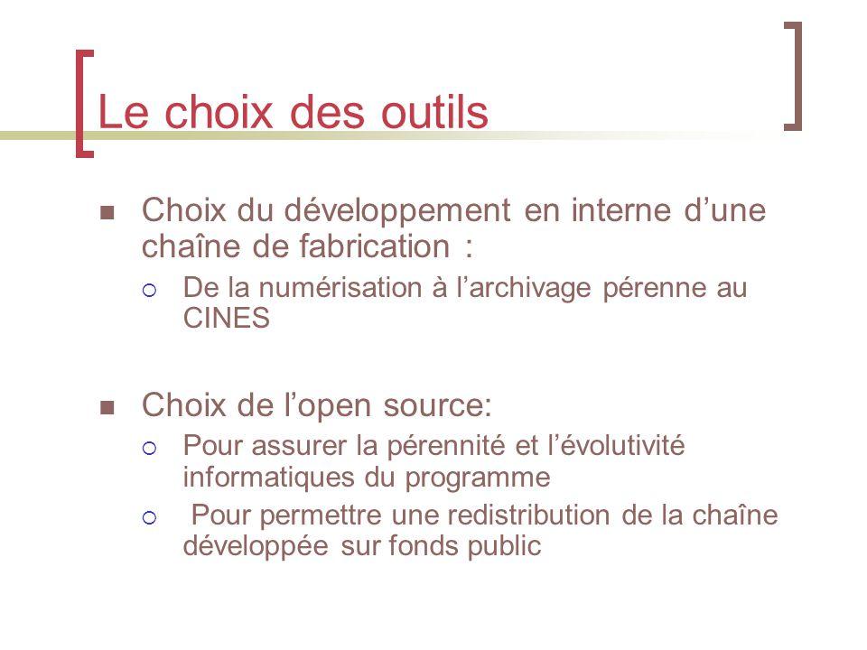 Le choix des outils Choix du développement en interne d'une chaîne de fabrication :  De la numérisation à l'archivage pérenne au CINES Choix de l'open source:  Pour assurer la pérennité et l'évolutivité informatiques du programme  Pour permettre une redistribution de la chaîne développée sur fonds public