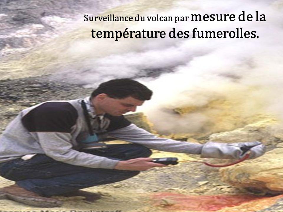 mesure la température des fumerolles de Vulcano dans les Îles Eoliennes Surveillance du volcan par mesure de la température des fumerolles.