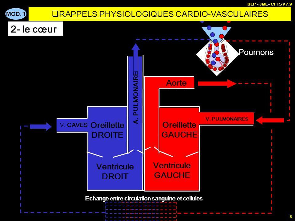 MOD. 1 BLP - JML - CFTS v 7.9 2 CIRCUIT FERME POMPE FLUIDECANALISATION COEUR Vaisseaux sanguins SANG  RAPPELS PHYSIOLOGIQUES CARDIO-VASCULAIRES 1- Or