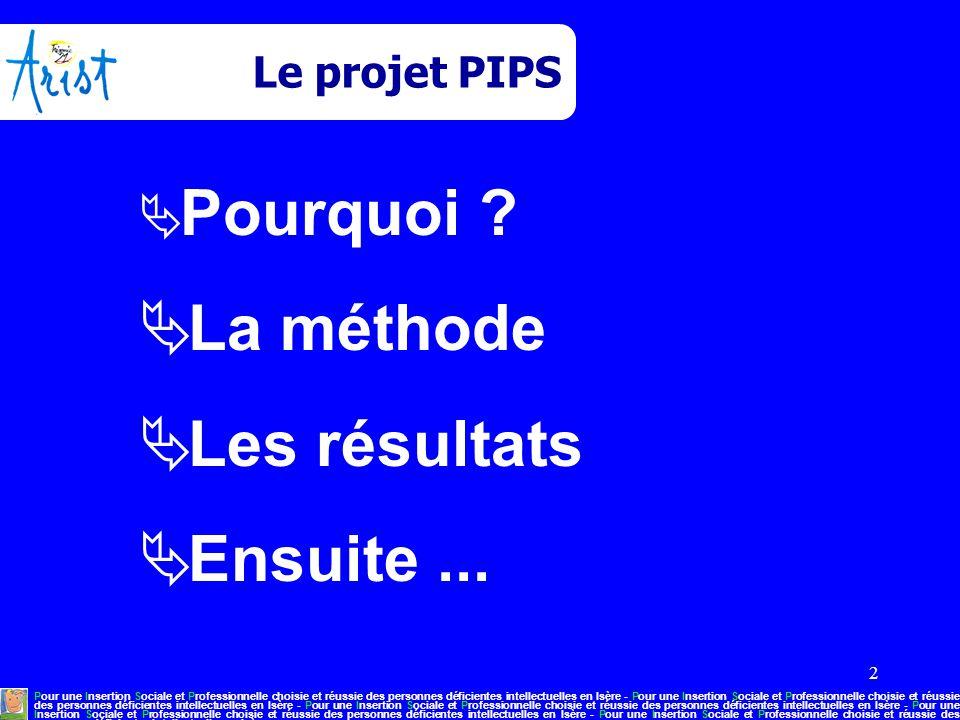 2 Le projet PIPS  Pourquoi ?  La méthode  Les résultats  Ensuite... Pour une Insertion Sociale et Professionnelle choisie et réussie des personnes