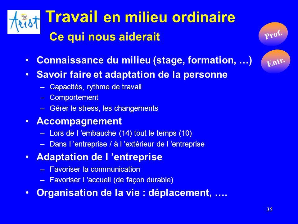 35 Travail en milieu ordinaire Ce qui nous aiderait Connaissance du milieu (stage, formation, …) Savoir faire et adaptation de la personne –Capacités,