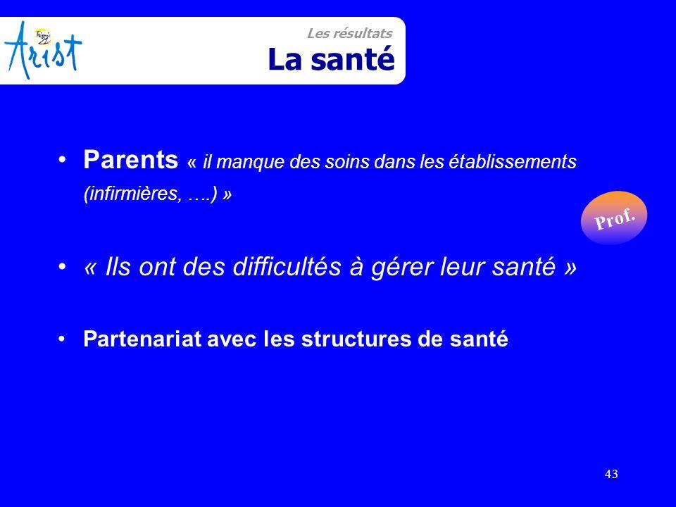 43 Santé Parents « il manque des soins dans les établissements (infirmières, ….) » « Ils ont des difficultés à gérer leur santé » Partenariat avec les