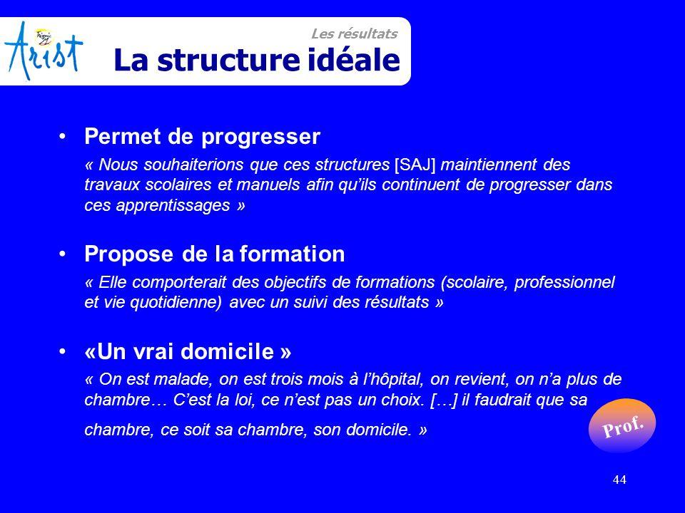 44 Structure Idéale Permet de progresser « Nous souhaiterions que ces structures [SAJ] maintiennent des travaux scolaires et manuels afin qu'ils conti