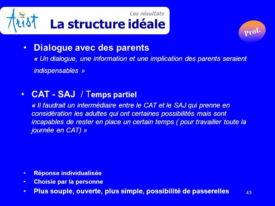 45 Dialogue avec des parents « Un dialogue, une information et une implication des parents seraient indispensables » CAT - SAJ / T emps partiel « Il f