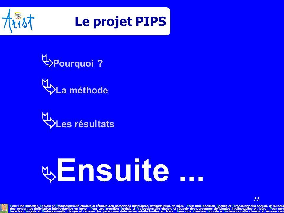 55 Le projet PIPS  Pourquoi ?  La méthode  Les résultats  Ensuite... Pour une Insertion Sociale et Professionnelle choisie et réussie des personne