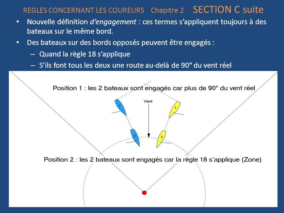 REGLES CONCERNANT LES COUREURS Chapitre 2 SECTION C suite Nouvelle définition d'engagement : ces termes s'appliquent toujours à des bateaux sur le même bord.