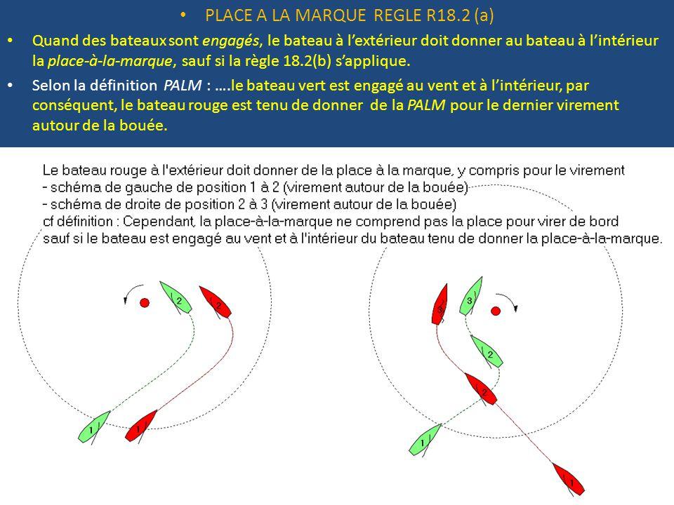 PLACE A LA MARQUE REGLE R18.2 (a) Quand des bateaux sont engagés, le bateau à l'extérieur doit donner au bateau à l'intérieur la place-à-la-marque, sauf si la règle 18.2(b) s'applique.