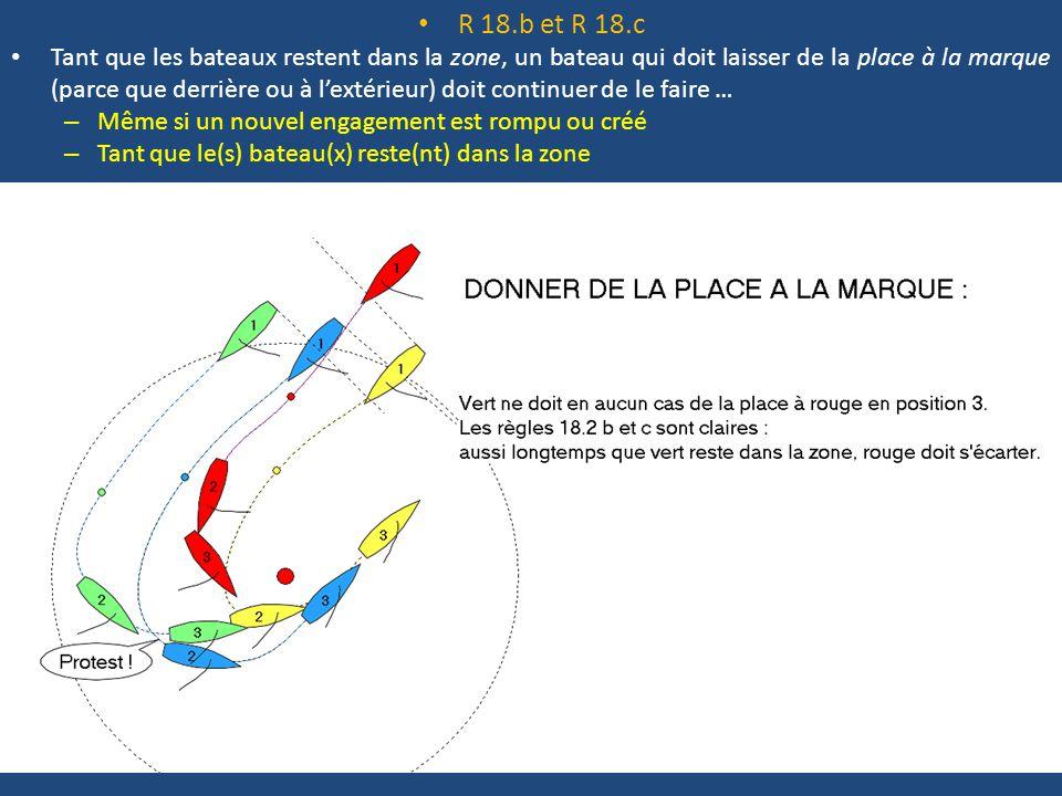 R 18.b et R 18.c Tant que les bateaux restent dans la zone, un bateau qui doit laisser de la place à la marque (parce que derrière ou à l'extérieur) doit continuer de le faire … – Même si un nouvel engagement est rompu ou créé – Tant que le(s) bateau(x) reste(nt) dans la zone Quoi de nouveau en 2009 .