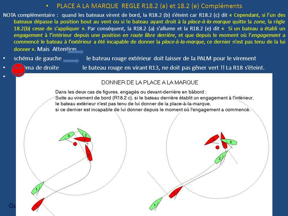 PLACE A LA MARQUE REGLE R18.2 (a) et 18.2 (e) Compléments NOTA complémentaire : quand les bateaux virent de bord, la R18.2 (b) s'éteint car R18.2 (c) dit « Cependant, si l'un des bateaux dépasse la position bout au vent ou si le bateau ayant droit à la place-à-la-marque quitte la zone, la règle 18.2(b) cesse de s'appliquer ».