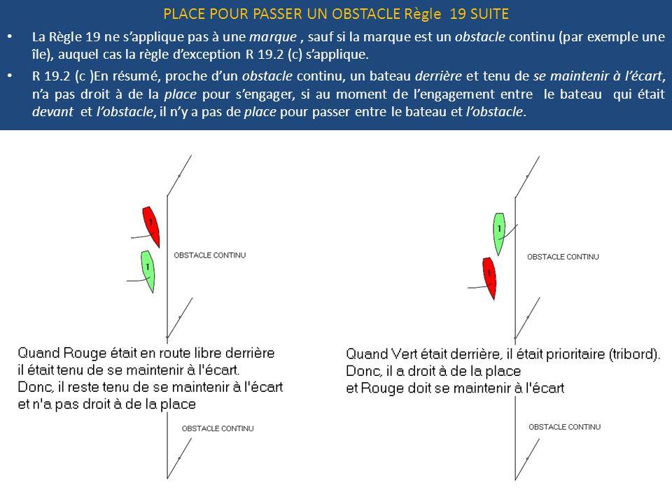 PLACE POUR PASSER UN OBSTACLE Règle 19 SUITE La Règle 19 ne s'applique pas à une marque, sauf si la marque est un obstacle continu (par exemple une île), auquel cas la règle d'exception R 19.2 (c) s'applique.