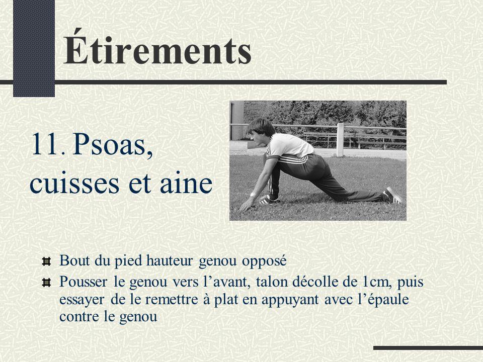 Étirements Bout du pied hauteur genou opposé Pousser le genou vers l'avant, talon décolle de 1cm, puis essayer de le remettre à plat en appuyant avec