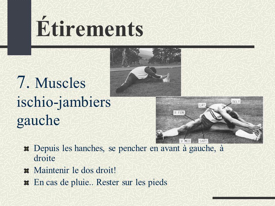 Étirements Depuis les hanches, se pencher en avant Maintenir le dos droit! En cas de pluie.. Rester sur les pieds 6. Muscles ischio-jambiers