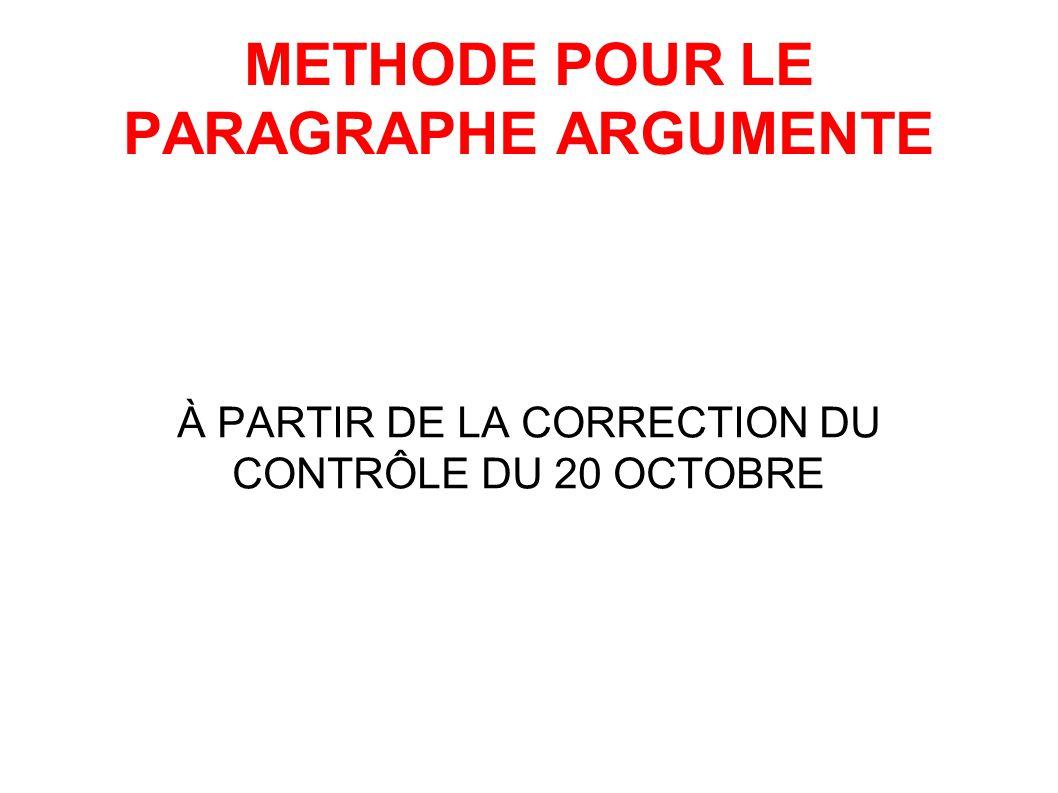 METHODE POUR LE PARAGRAPHE ARGUMENTE À PARTIR DE LA CORRECTION DU CONTRÔLE DU 20 OCTOBRE