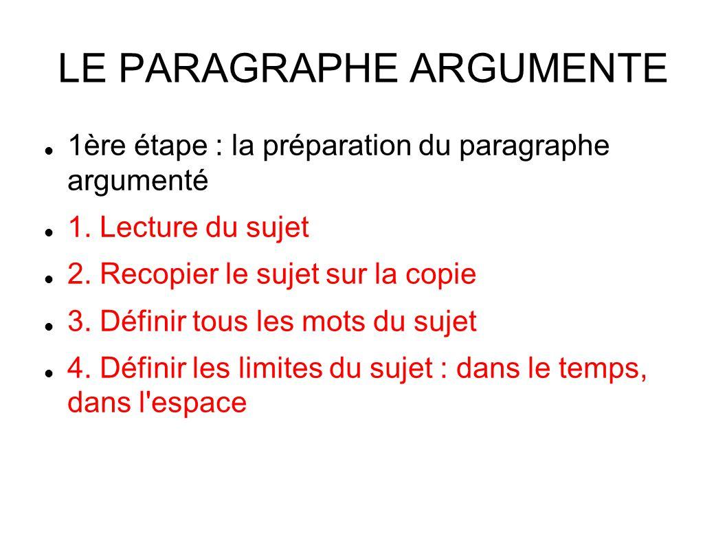LE PARAGRAPHE ARGUMENTE 1ère étape : la préparation du paragraphe argumenté 1.