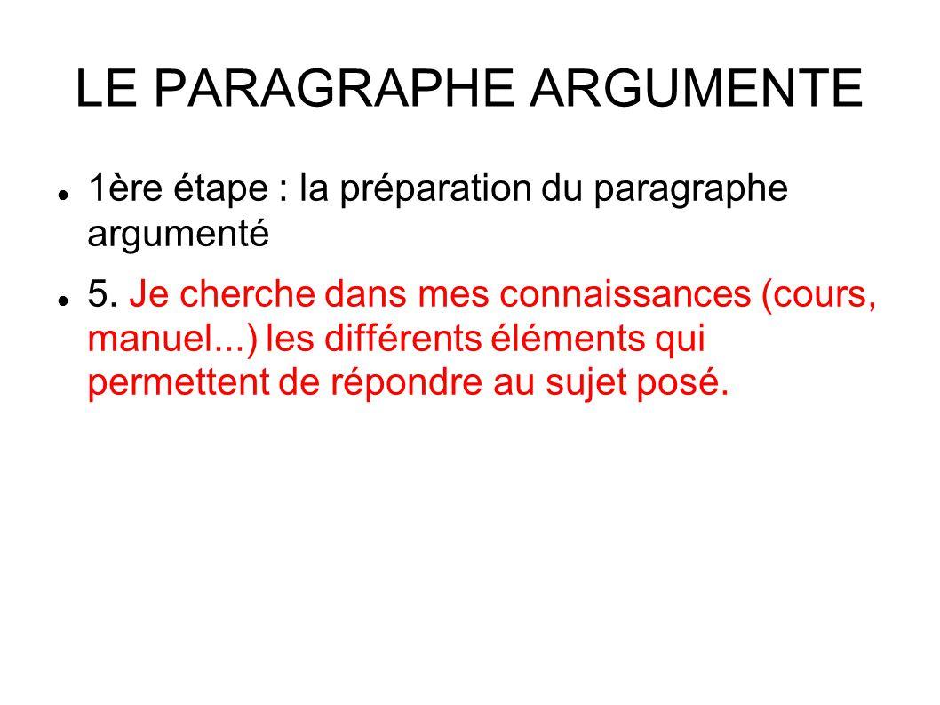 LE PARAGRAPHE ARGUMENTE 1ère étape : la préparation du paragraphe argumenté 5.