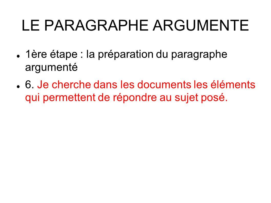LE PARAGRAPHE ARGUMENTE 1ère étape : la préparation du paragraphe argumenté 6.