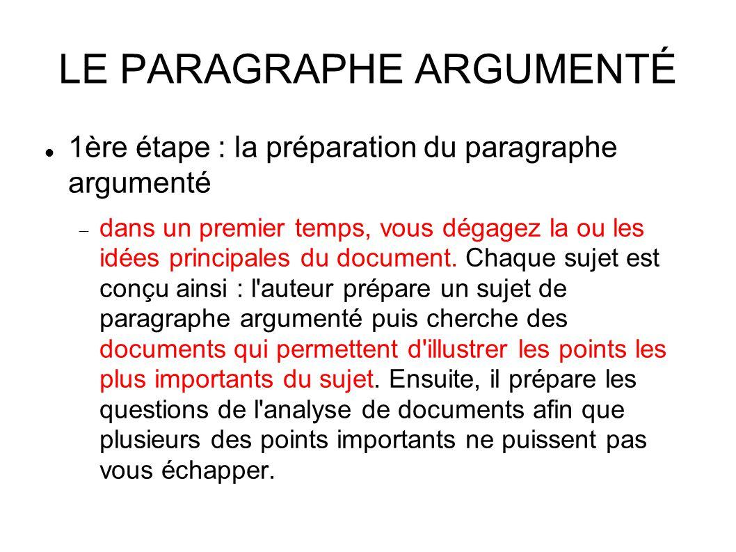 LE PARAGRAPHE ARGUMENTÉ 1ère étape : la préparation du paragraphe argumenté  dans un premier temps, vous dégagez la ou les idées principales du document.