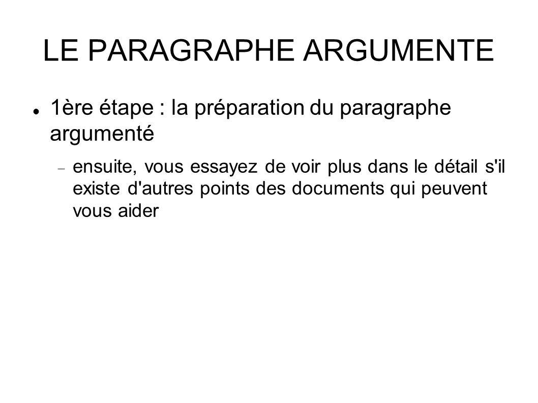 LE PARAGRAPHE ARGUMENTE 1ère étape : la préparation du paragraphe argumenté  ensuite, vous essayez de voir plus dans le détail s il existe d autres points des documents qui peuvent vous aider