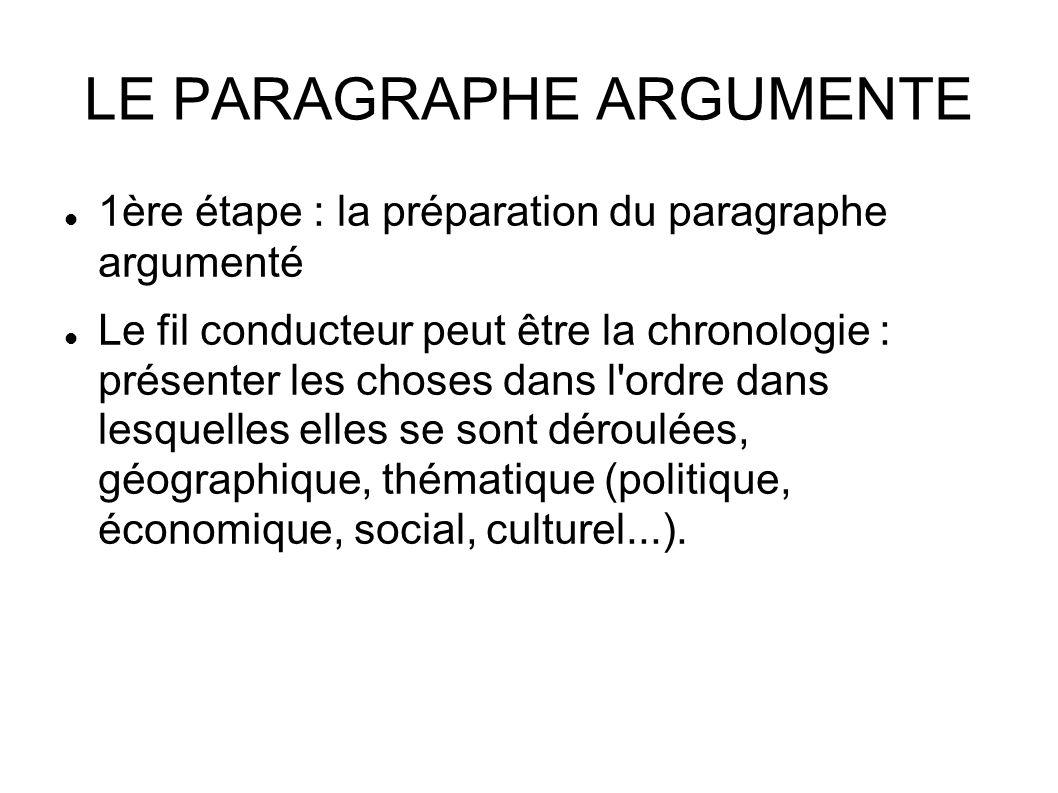 LE PARAGRAPHE ARGUMENTE 1ère étape : la préparation du paragraphe argumenté Le fil conducteur peut être la chronologie : présenter les choses dans l ordre dans lesquelles elles se sont déroulées, géographique, thématique (politique, économique, social, culturel...).