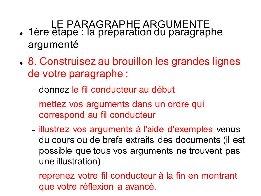 LE PARAGRAPHE ARGUMENTE 1ère étape : la préparation du paragraphe argumenté 8.