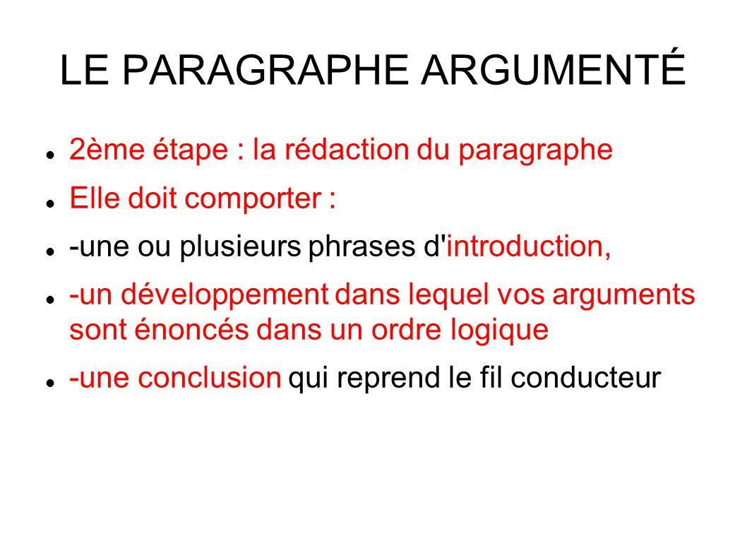 LE PARAGRAPHE ARGUMENTÉ 2ème étape : la rédaction du paragraphe Elle doit comporter : -une ou plusieurs phrases d introduction, -un développement dans lequel vos arguments sont énoncés dans un ordre logique -une conclusion qui reprend le fil conducteur