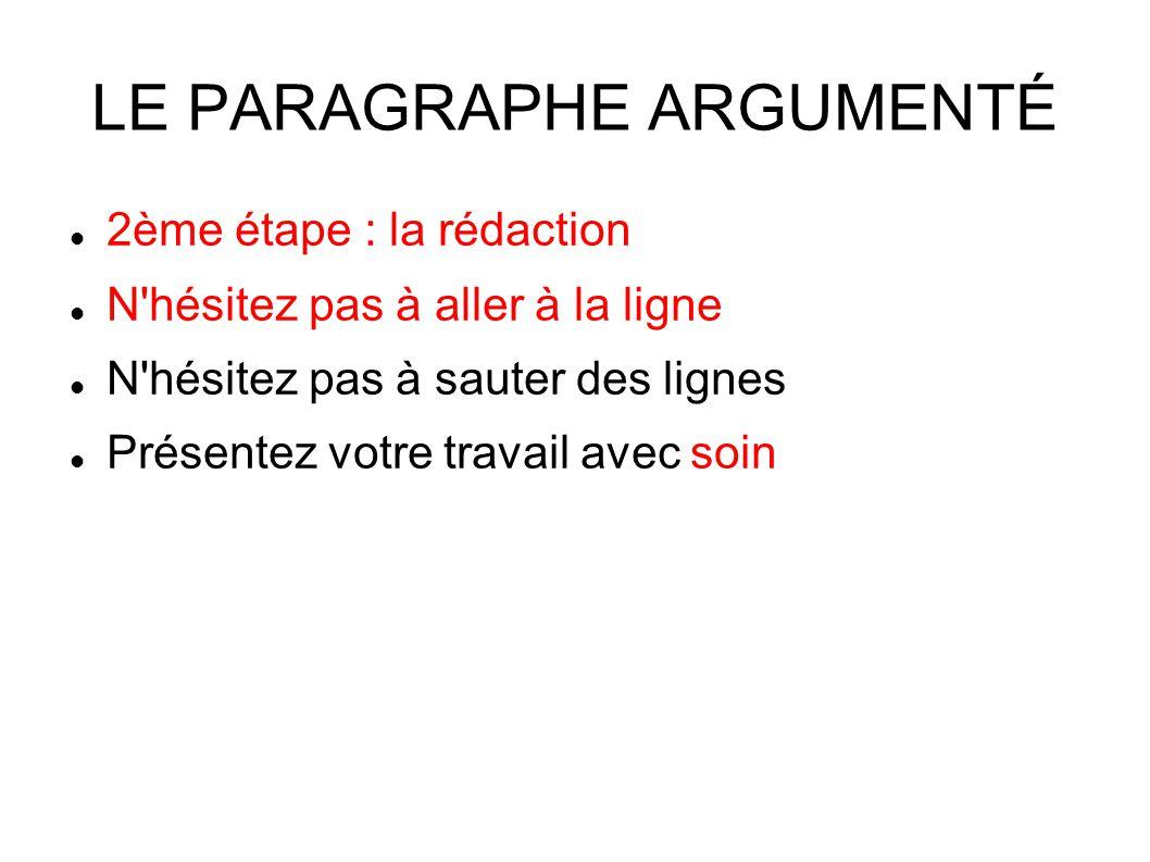 LE PARAGRAPHE ARGUMENTÉ 2ème étape : la rédaction N hésitez pas à aller à la ligne N hésitez pas à sauter des lignes Présentez votre travail avec soin