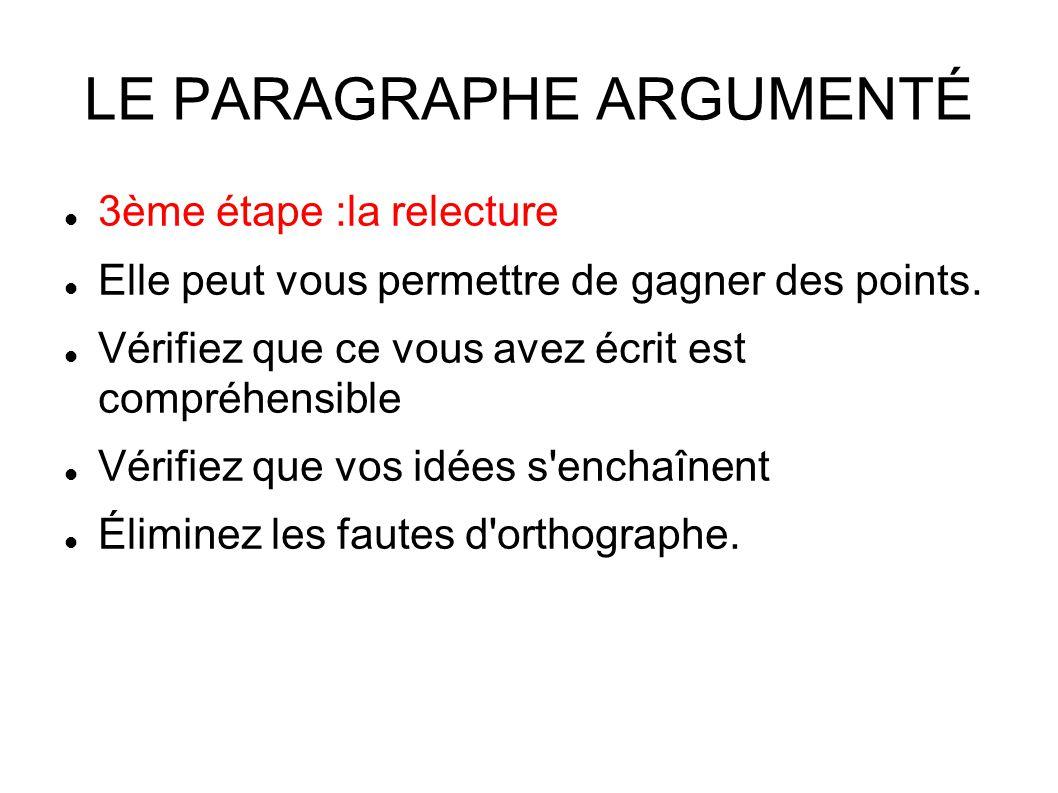 LE PARAGRAPHE ARGUMENTÉ 3ème étape :la relecture Elle peut vous permettre de gagner des points.