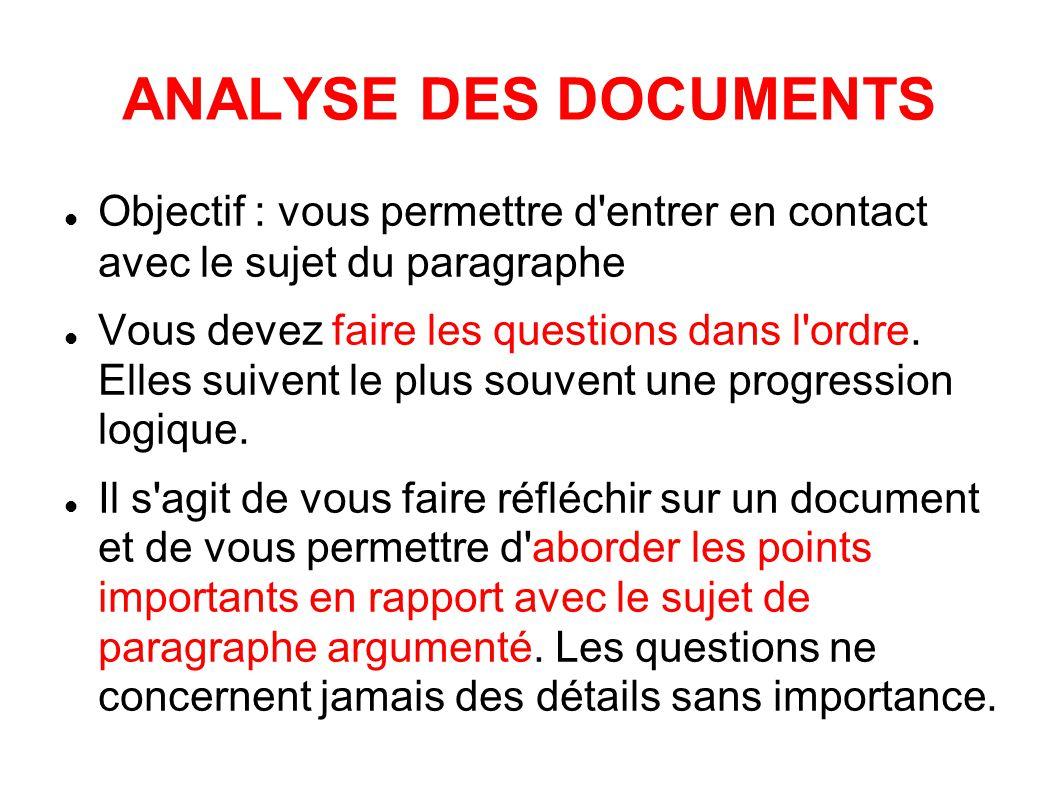 ANALYSE DES DOCUMENTS Objectif : vous permettre d entrer en contact avec le sujet du paragraphe Vous devez faire les questions dans l ordre.
