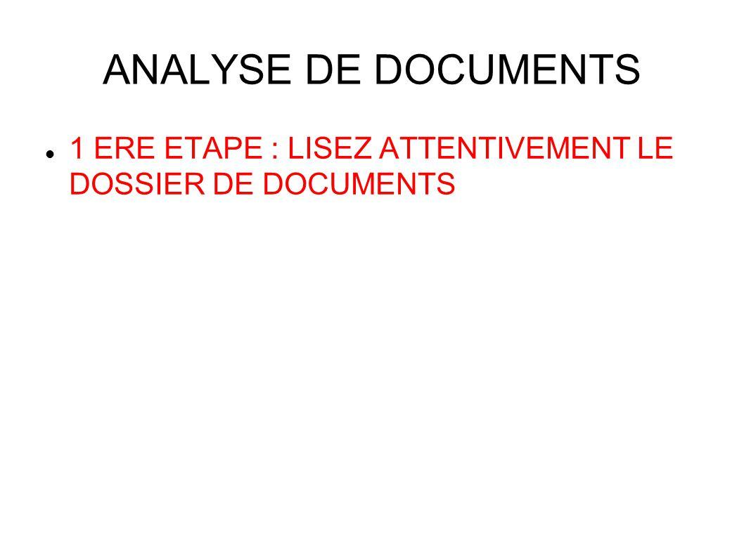 ANALYSE DE DOCUMENTS 1 ERE ETAPE : LISEZ ATTENTIVEMENT LE DOSSIER DE DOCUMENTS