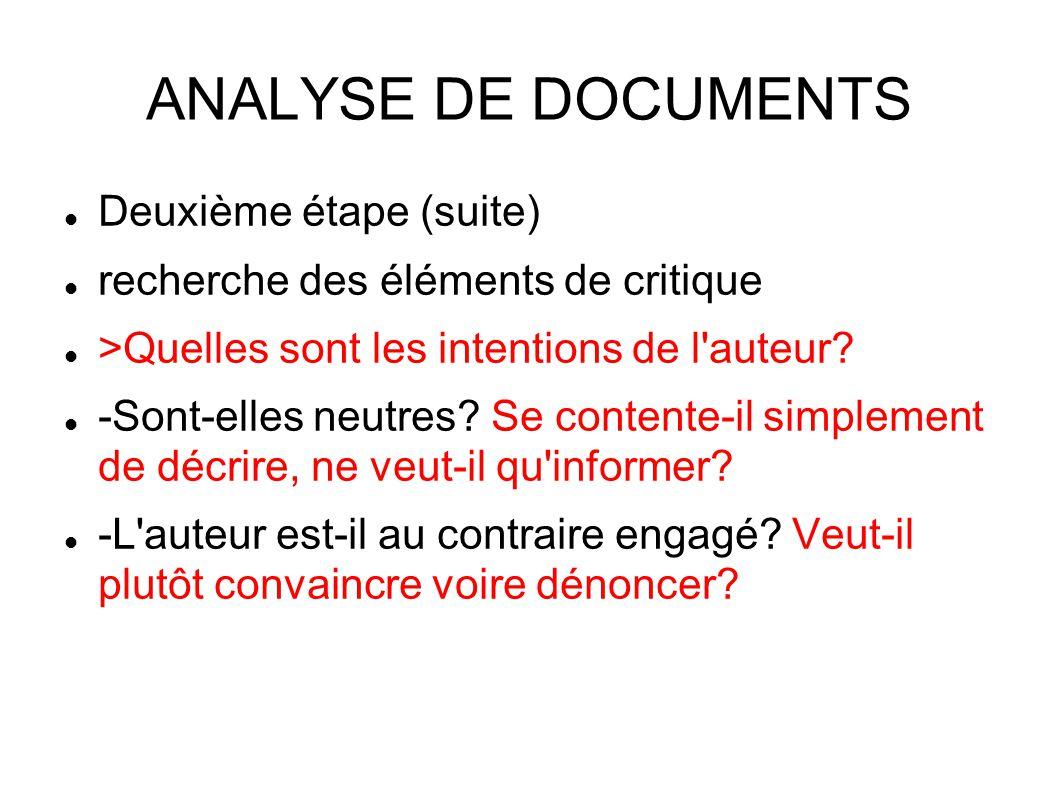 ANALYSE DE DOCUMENTS Deuxième étape (suite) recherche des éléments de critique >Quelles sont les intentions de l auteur.