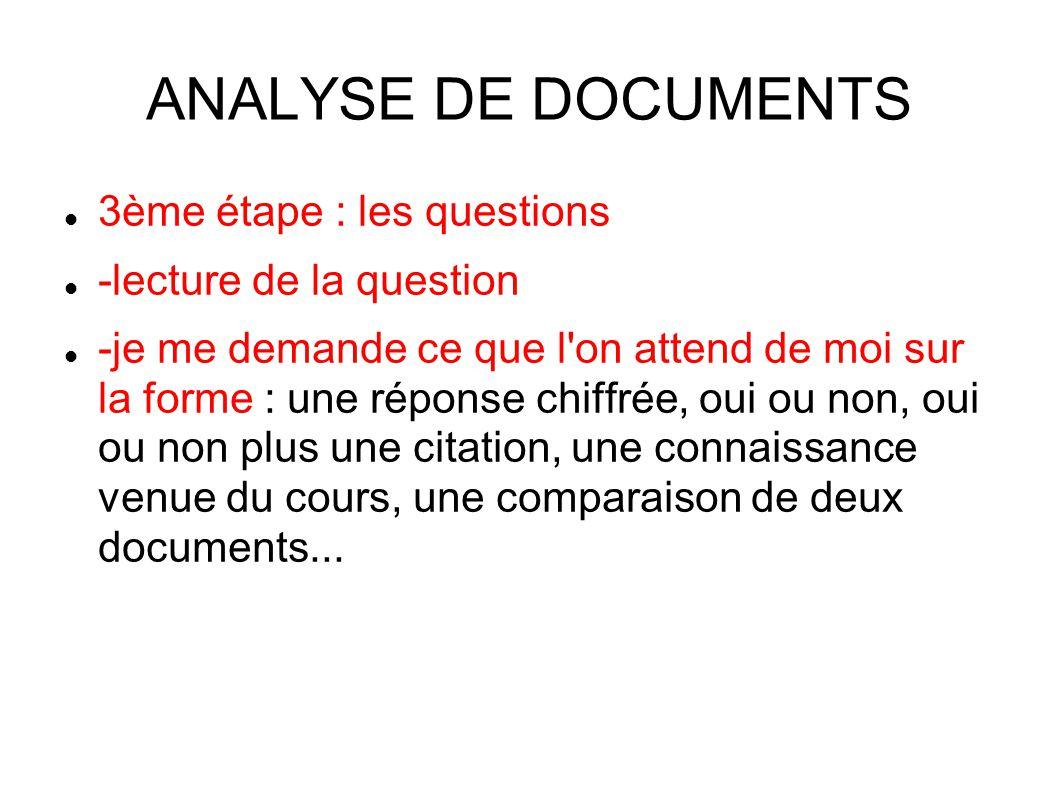 ANALYSE DE DOCUMENTS 3ème étape : les questions -lecture de la question -je me demande ce que l on attend de moi sur la forme : une réponse chiffrée, oui ou non, oui ou non plus une citation, une connaissance venue du cours, une comparaison de deux documents...