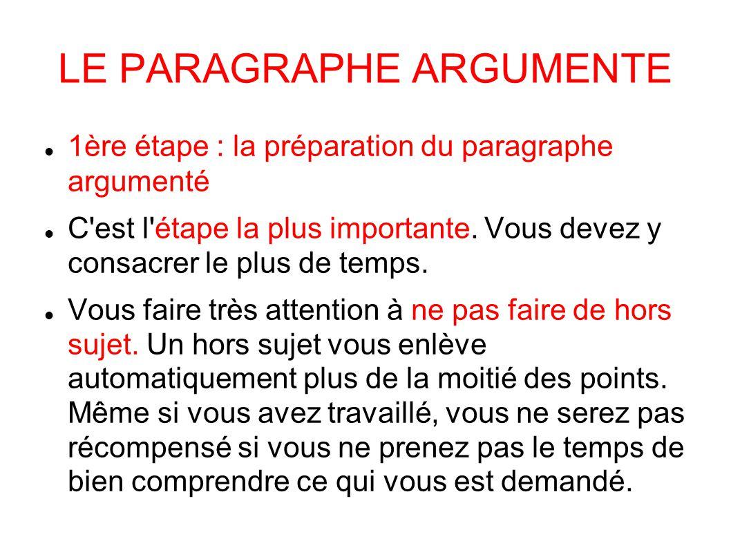 LE PARAGRAPHE ARGUMENTE 1ère étape : la préparation du paragraphe argumenté C est l étape la plus importante.