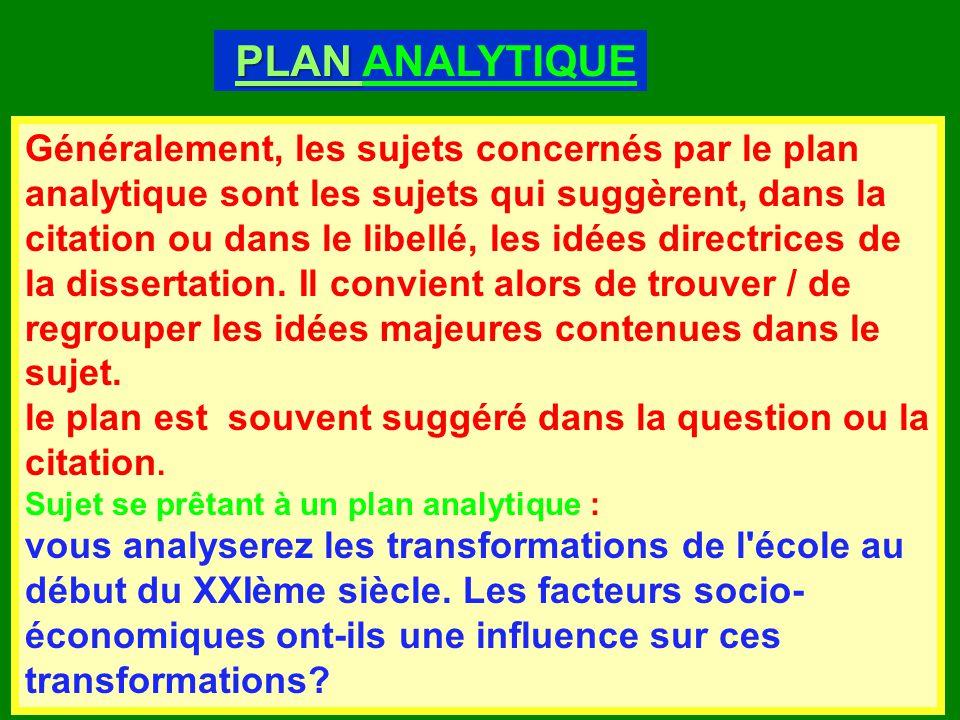 le plan analytique dune dissertation Preparer la dissertation litteraire le plan analytique est choisi pour les sujets dont l'objectif est de valider la thèse contenue dans le sujet en.