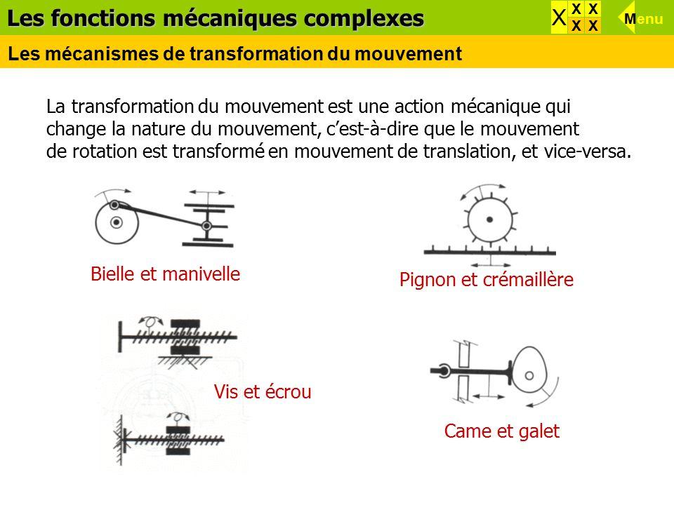 La transformation du mouvement est une action mécanique qui change la nature du mouvement, c'est-à-dire que le mouvement de rotation est transformé en mouvement de translation, et vice-versa.