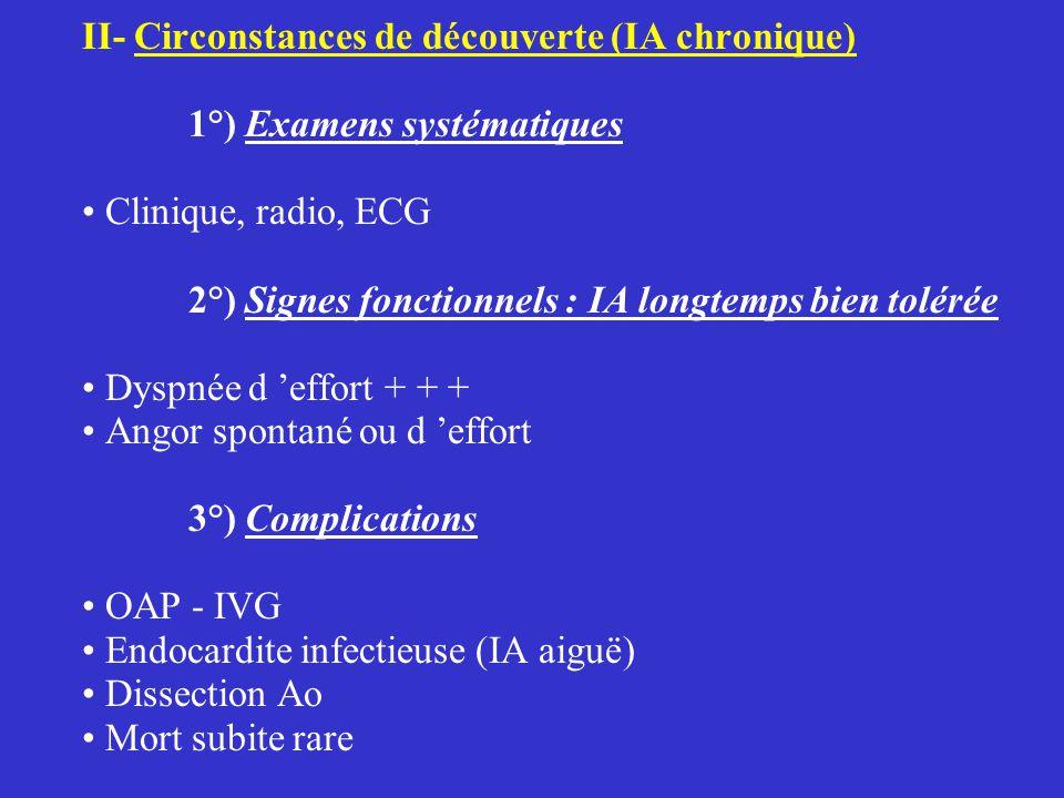 II- Circonstances de découverte (IA chronique) 1°) Examens systématiques Clinique, radio, ECG 2°) Signes fonctionnels : IA longtemps bien tolérée Dyspnée d 'effort + + + Angor spontané ou d 'effort 3°) Complications OAP - IVG Endocardite infectieuse (IA aiguë) Dissection Ao Mort subite rare