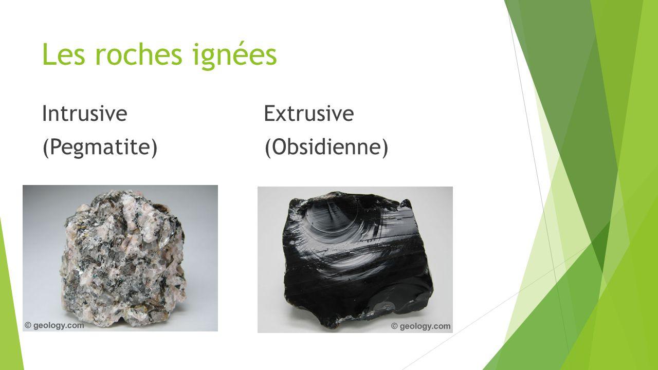 Les roches ignées IntrusiveExtrusive (Pegmatite)(Obsidienne)