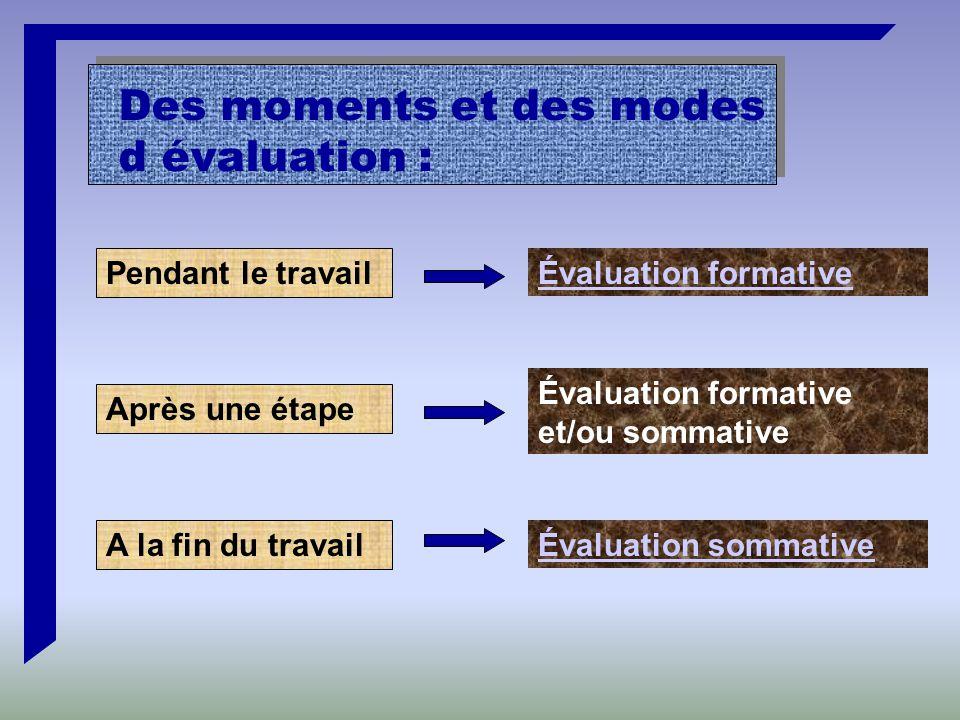 Pendant le travail Évaluation formative Des moments et des modes d évaluation : Après une étape A la fin du travail Évaluation formative et/ou sommative Évaluation sommative