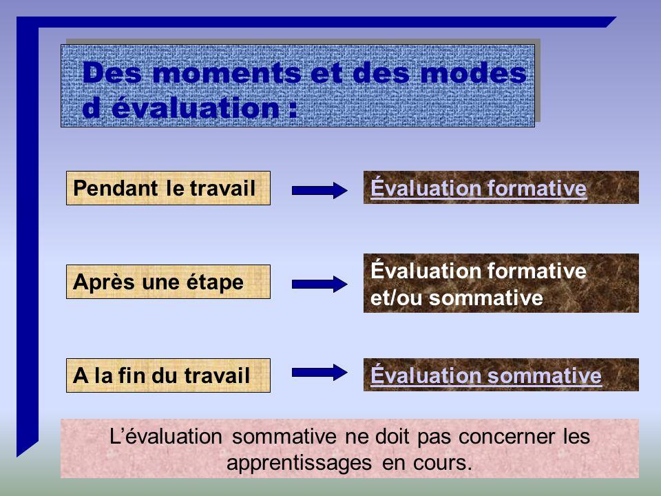 Pendant le travail Après une étape A la fin du travail Évaluation formative Évaluation formative et/ou sommative Évaluation sommative L'évaluation sommative ne doit pas concerner les apprentissages en cours.