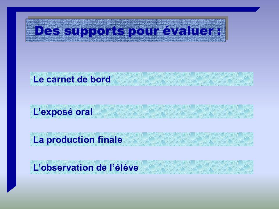 Des supports pour évaluer : Le carnet de bord L'exposé oral La production finale L'observation de l'élève