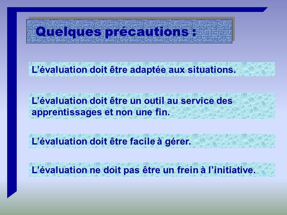 Quelques précautions : L'évaluation doit être adaptée aux situations.