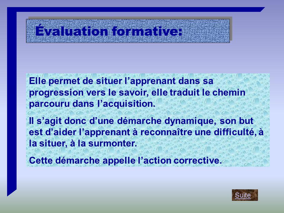 Évaluation formative: Elle permet de situer l'apprenant dans sa progression vers le savoir, elle traduit le chemin parcouru dans l'acquisition.