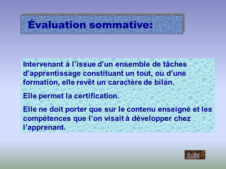 Évaluation sommative: Intervenant à l'issue d'un ensemble de tâches d'apprentissage constituant un tout, ou d'une formation, elle revêt un caractère de bilan.