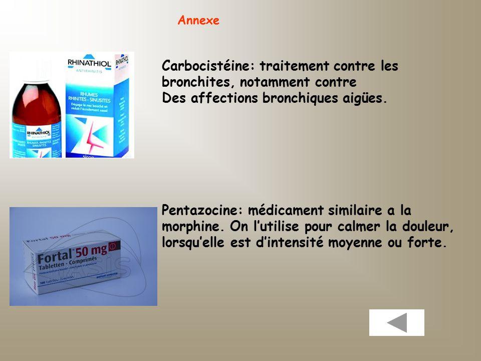 Annexe Carbocistéine: traitement contre les bronchites, notamment contre Des affections bronchiques aigües.