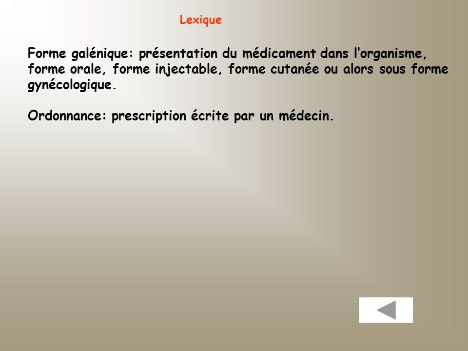 Lexique Forme galénique: présentation du médicament dans l'organisme, forme orale, forme injectable, forme cutanée ou alors sous forme gynécologique.