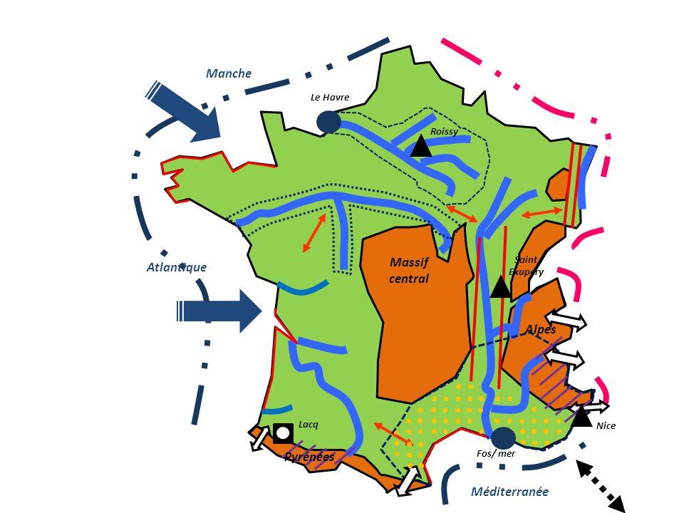 Massif central Atlantique Méditerranée Manche Alpes Pyrénées Fos/ mer Le Havre Roissy Nice Saint Exupery Lacq