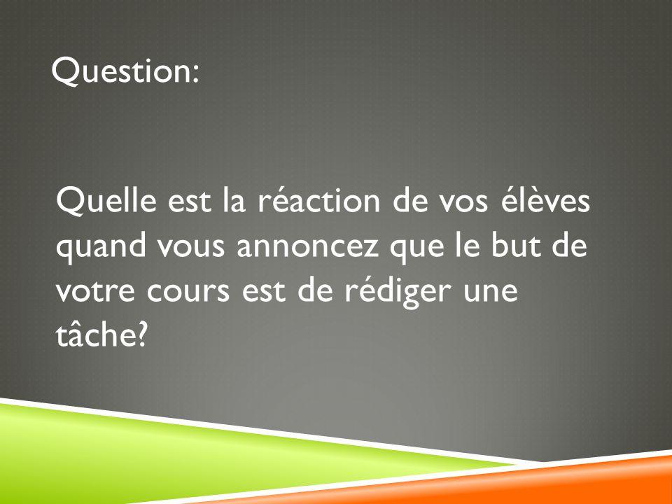 Question: Quelle est la réaction de vos élèves quand vous annoncez que le but de votre cours est de rédiger une tâche?