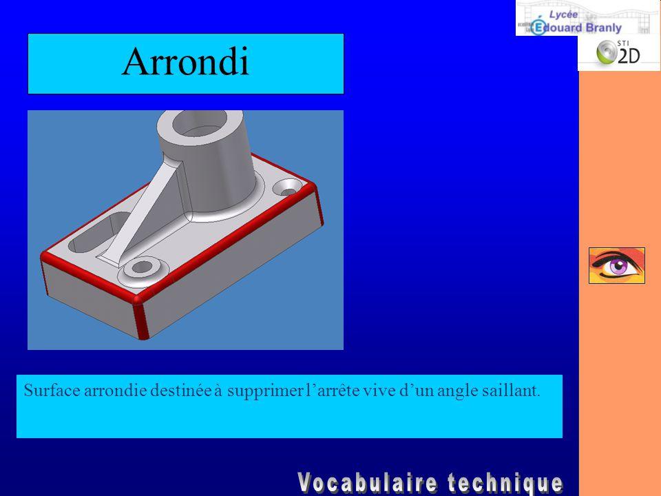 Arrondi Surface arrondie destinée à supprimer l'arrête vive d'un angle saillant.