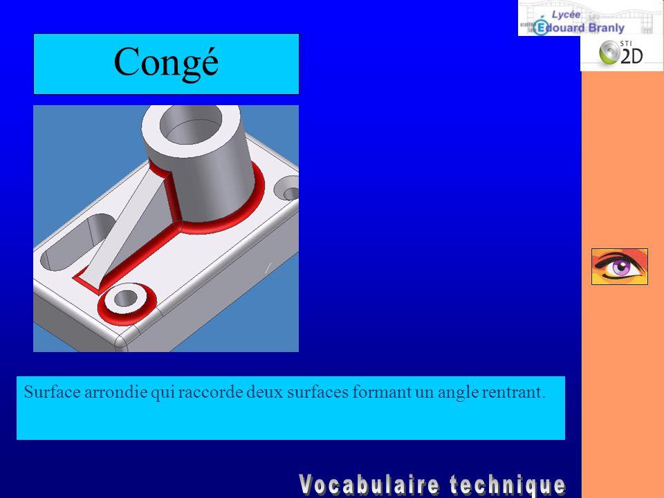 Congé Surface arrondie qui raccorde deux surfaces formant un angle rentrant.